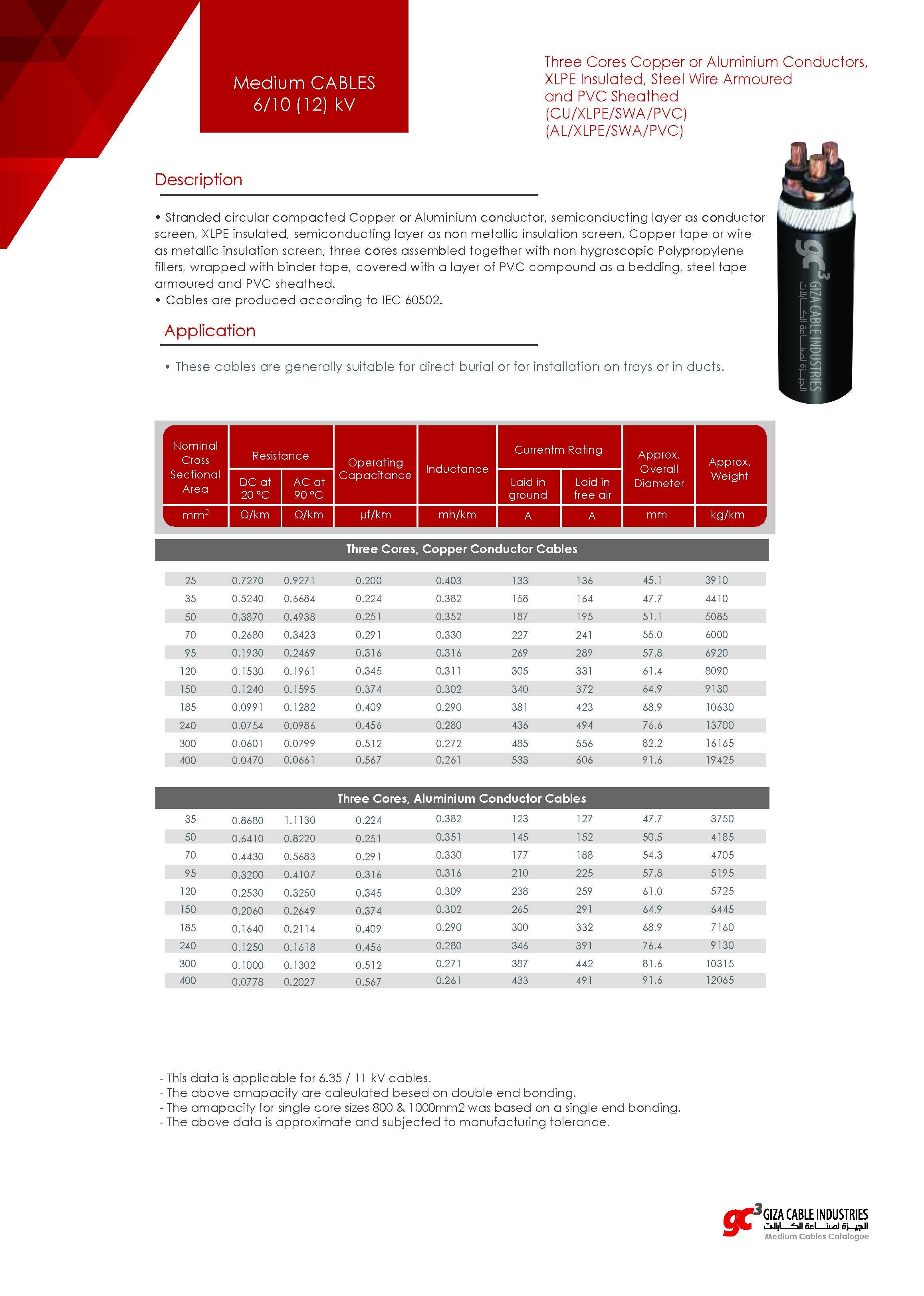 Medium CABLES 6/10 (12) kV - (CU/XLPE/SWA/PVC) - (AL/XLPE/SWA/PVC)