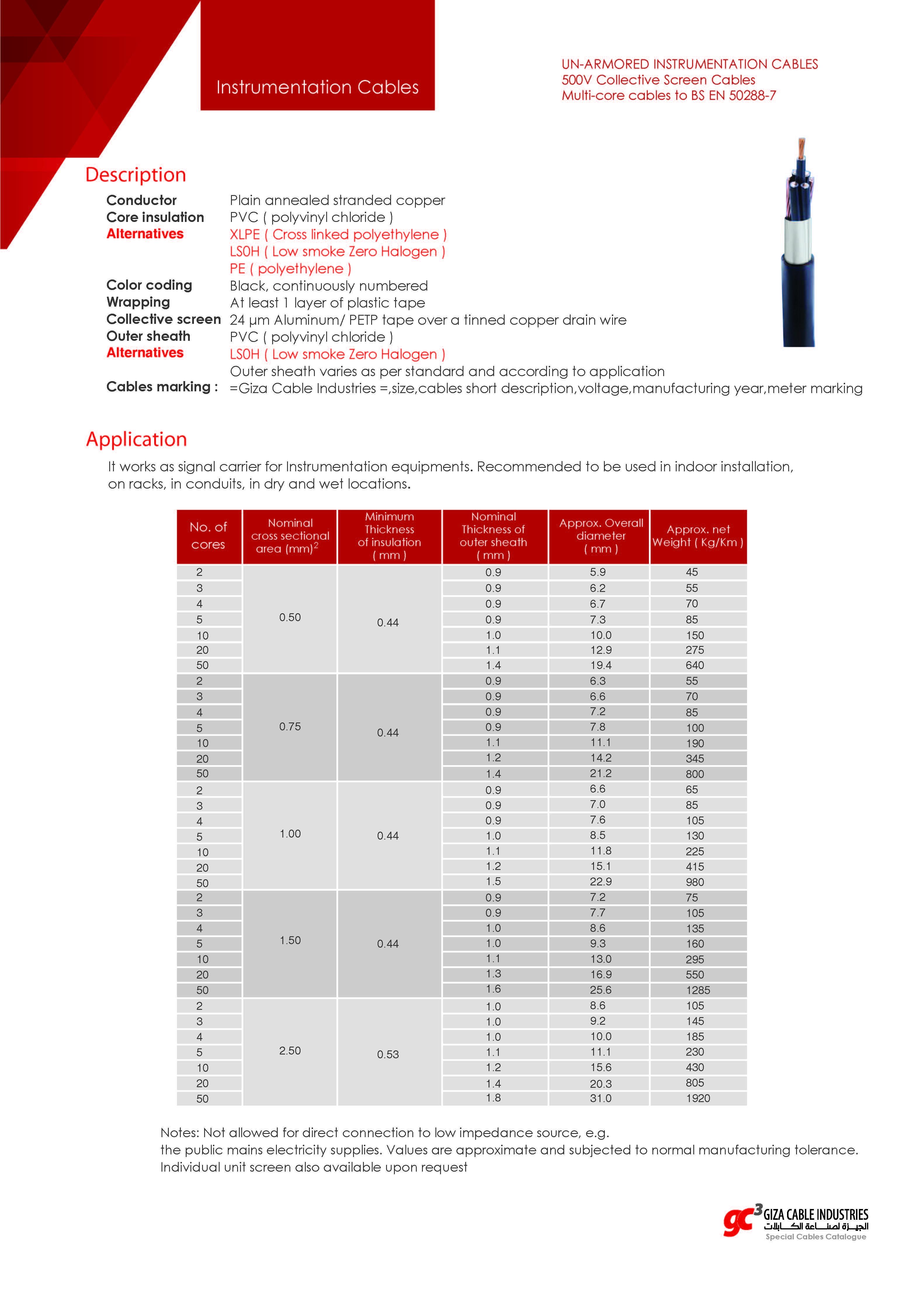 UN-ARMORED INSTRUMENTATION CABLES - 500V - Multi-core cables