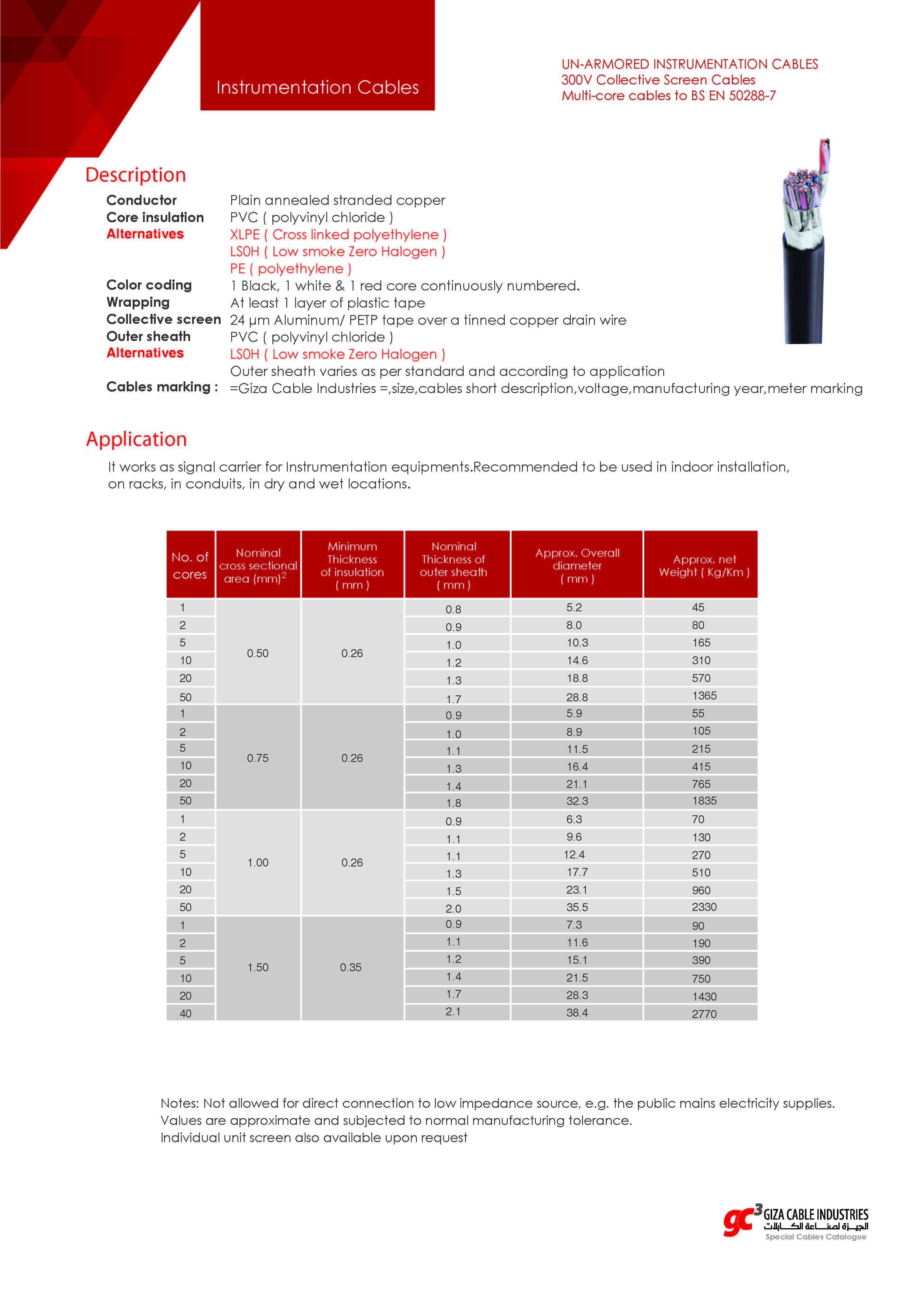 UN-ARMORED INSTRUMENTATION CABLES - 300V - Multi-core cables